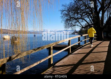 Joggerin auf einer HolzbrŸcke am ZŸrichsee mit Blick auf die schneebedeckten Schweizer Alpen. - Stock Photo