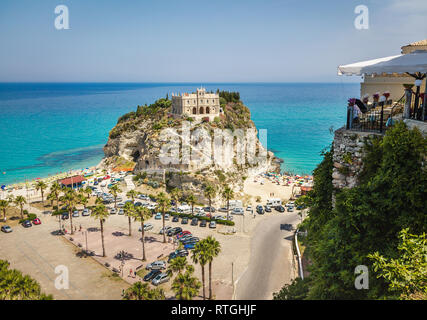 Aerial view of Santa Maria dell'Isola Church - Tropea, Calabria, Italy - Stock Photo