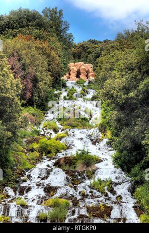 Cascade, Royal Palace of Caserta, Campania, Italy - Stock Photo