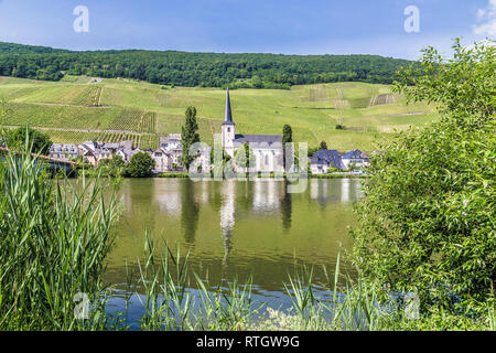 Piesport on the Moselle Rhineland-Palatinate Germany. - Stock Photo