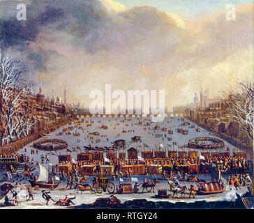 Frost Fair on the Thames, with Old London Bridge in the distance, painting, c. 1865 - Stock Photo