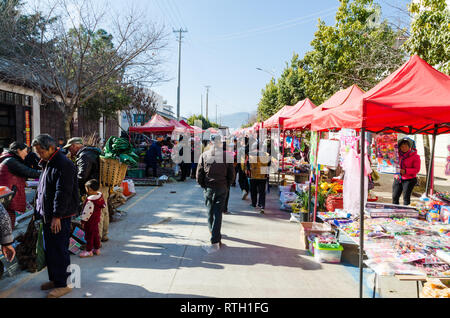 Friday Market in Shaxi, Yunnan province, China - Stock Photo