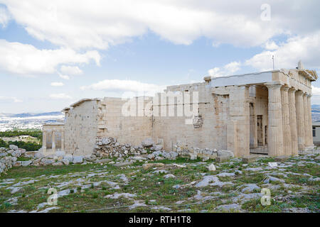 The monumental gateway Propylaea in Acropolis, Athens, Greece - Stock Photo