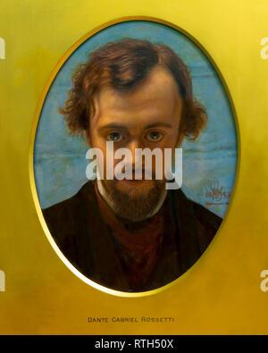 Portrait of Gabriel Dante Rossetti,  William Holman Hunt, circa 1882, - Stock Photo