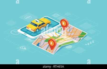 Geo tracking. Online taxi oder service app concept. Vector of a yellow cab and GPS route point pins on smartphone - Stock Photo
