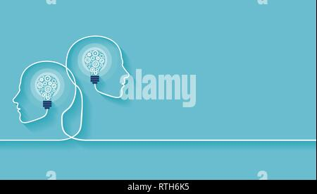 Vector of two human heads made of gears with light bulb shape inside. Innovation technology and new idea generation concept Stock Photo