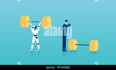 Human vs robots concept. Vector of a businessman standing next to weights unable to perform a task vs a capable robot - Stock Photo