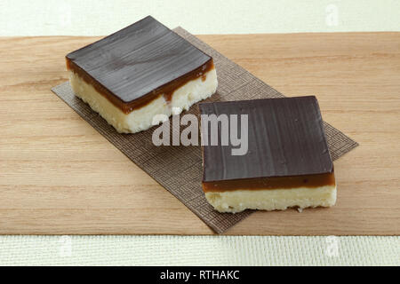 Two Caramel Slices or Millionaires Shortbreads - Stock Photo
