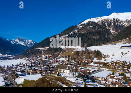 Chateau-d'Oex with temple church, Pays-d'Enhaut, Vaud, Switzerland - Stock Photo
