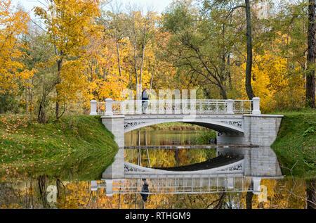 TSARSKOYE SELO, SAINT-PETERSBURG, RUSSIA – OCTOBER 8, 2018: Woman on Third Lamsky Bridge near Lamsky Pond in the landscape area of Alexander Park - Stock Photo