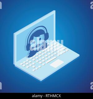 Operator support isometric style. vector - Stock Photo