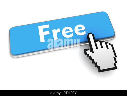 free push button concept 3d illustration isolated - Stock Photo