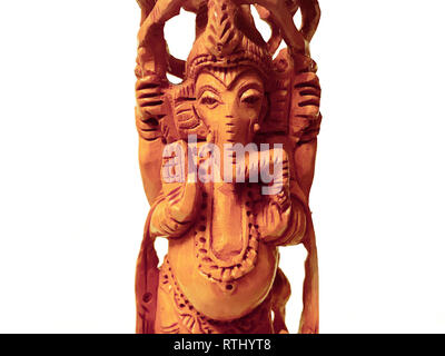 Ganesha ancient hand made sculpture statue architecture made of wood - Stock Photo
