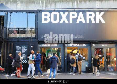 4d9401941caf9 Shoreditch Boxpark in Bethnal Green, a shipping container pop-up mall, for  fashion