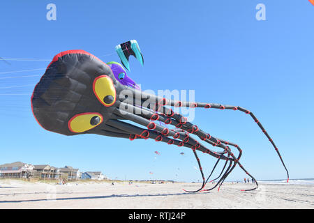 Octopus kite flying at the Carolina Kite Fest in Atlantic Beach, N.C. - Stock Photo