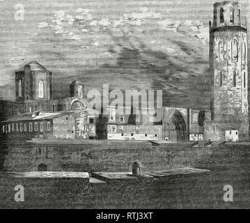 Spain, Catalonia, Lleida. The Cathedral of Lleida. 1203-1278. General view. Engraving, 1866. Crónica General de España, Historia Ilustrada y Descriptiva de sus Provincias. Catalonia. 1866. - Stock Photo
