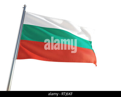 Bulgaria National Flag waving in the wind, isolated white background. High Definition - Stock Photo