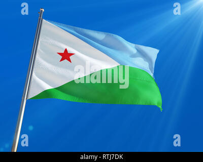 Djibouti National Flag Waving on pole against deep blue sky background. High Definition - Stock Photo