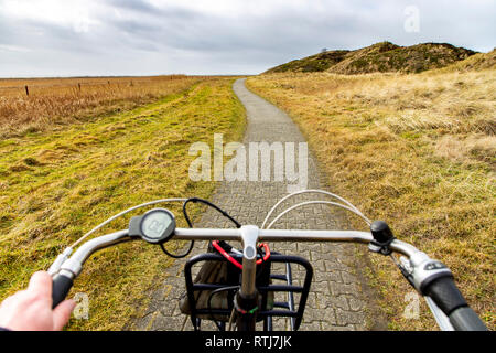 North Sea island Langeoog, Ostfriesland, Lower Saxony, bike tour over the island, Germany - Stock Photo