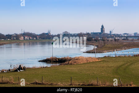 View at the City Deventer and the river 'the IJssel' in the Netherlands province Overijssel - Stock Photo