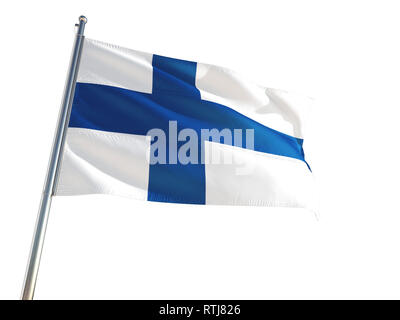 Finland National Flag waving in the wind, isolated white background. High Definition - Stock Photo