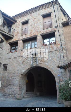 Entrance Door To The Medieval Part In Alquezar. Landscapes, Nature, History, Architecture. December 28, 2014. Alquezar, Huesca, Aragon, Spain - Stock Photo