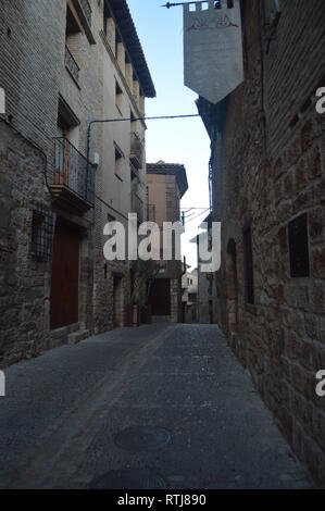 Beautiful Streets Of Medieval Style In Alquezar. Landscapes, Nature, History, Architecture. December 28, 2014. Alquezar, Huesca, Aragon, Spain - Stock Photo