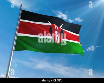 Kenya National Flag Waving on pole against sunny blue sky background. High Definition - Stock Photo