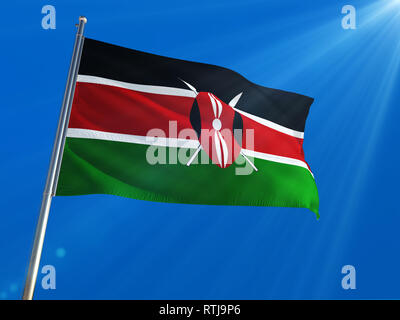 Kenya National Flag Waving on pole against deep blue sky background. High Definition - Stock Photo