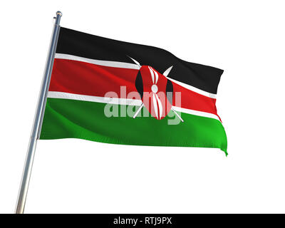 Kenya National Flag waving in the wind, isolated white background. High Definition - Stock Photo