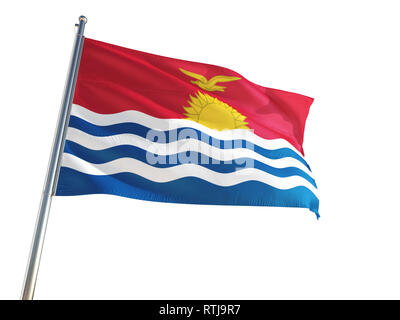 Kiribati National Flag waving in the wind, isolated white background. High Definition - Stock Photo