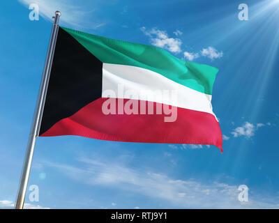 Kuwait National Flag Waving on pole against sunny blue sky background. High Definition - Stock Photo