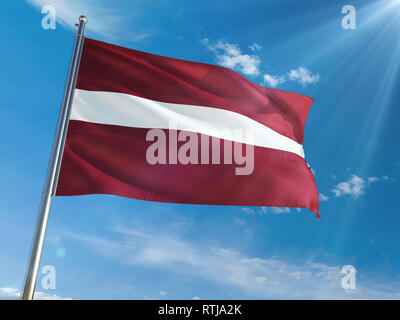 Latvia National Flag Waving on pole against sunny blue sky background. High Definition - Stock Photo