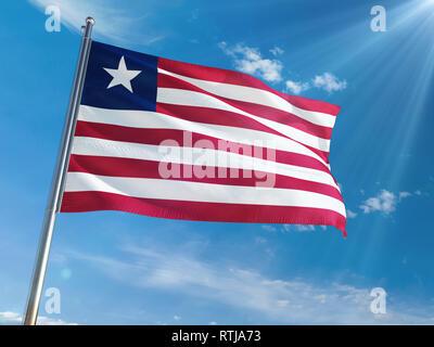 Liberia National Flag Waving on pole against sunny blue sky background. High Definition - Stock Photo