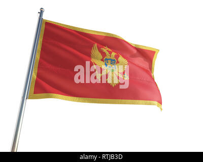 Montenegro National Flag waving in the wind, isolated white background. High Definition - Stock Photo