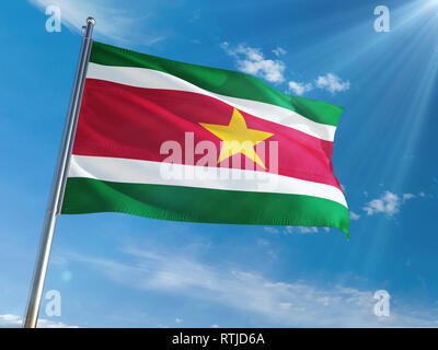 Suriname National Flag Waving on pole against sunny blue sky background. High Definition - Stock Photo