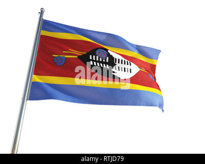 Swaziland National Flag waving in the wind, isolated white background. High Definition - Stock Photo