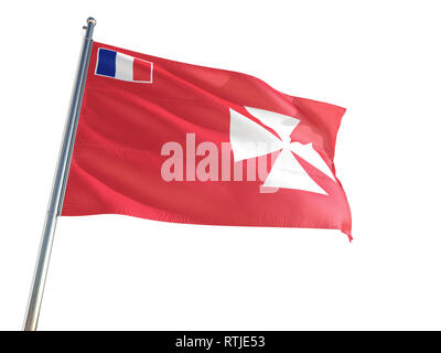 Wallis And Futuna National Flag waving in the wind, isolated white background. High Definition - Stock Photo
