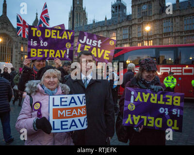 Brexit demonstrations continue on the Old Palace Yard opposite the House of Lords, Westminster  Featuring: Gerard Batten MEP UKIP Where: London, United Kingdom When: 29 Jan 2019 Credit: Wheatley/WENN - Stock Photo