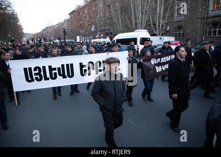 YEREVAN, ARMENIA - Mar 01, 2019: Armenian people friendly  marching on the streets of Yerevan - Velvet revolution - Vice president  Nikol Pashinyan -  - Stock Photo