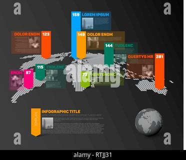 Dark World map infographic template with globe, color pointer marks, small photos and data numbers visualization - Stock Photo