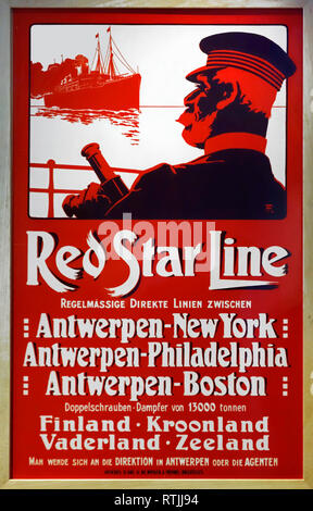 19th century vintage poster of the Red Star Line advertising crossings under Belgian flag between Antwerp and the United States - Stock Photo