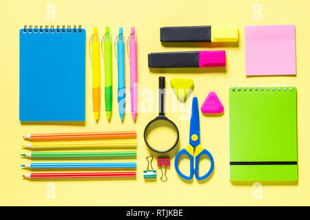 School and office sstationery on yellow background.  - Stock Photo