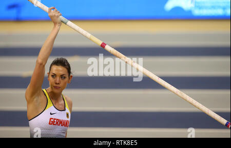 Emirates Arena, Glasgow, UK. 2nd Mar, 2019. European Athletics Indoor Championships, day 2; Katharina Bauer (GER) waits to begin her pole vault qualifying attempt Credit: Action Plus Sports/Alamy Live News - Stock Photo