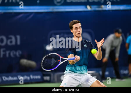 Dubai, UAE. 2nd March 2019. Joe Salisbury of UK and Rajeev Ram of USA on their way to winning the 2019 Dubai Tennis Championships doubles final against Jan-Lennard Struff of Germany and Ben McLachlan of Japan. The 4th seeded duo of Salisbury and Ram won in straight sets 7-6 (7-4), 6-3 Credit: Feroz Khan/Alamy Live News - Stock Photo