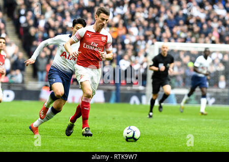 London, UK. 2nd March 2019. Laurent Koscielny of Arsenal during the Premier League match between Tottenham Hotspur and Arsenal at Wembley Stadium, London, England on 2 March 2019. Photo by Adamo Di Loreto.  Editorial use only, license required for commercial use. No use in betting, games or a single club/league/player publications. - Stock Photo