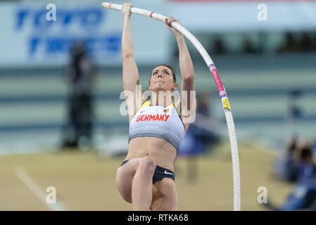 Glasgow, UK. 2nd March 2019. Katharina Bauer (GER) in Women's Pole Vault Qualification during European Athletics Indoor Championships Glasgow 2019 at Emirates Arena on Saturday, 02 March 2019. GLASGOW SCOTLAND.  (Editorial use only, license required for commercial use. No use in betting, games or a single club/league/player publications.) Credit: Taka G Wu/Alamy News - Stock Photo