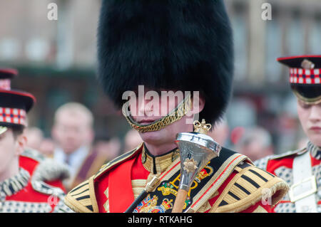 Glasgow, Scotland, UK. 2nd March, 2019. Members taking part in the City of Glasgow Campsie Branch Club Apprentice boys of Derry         Procession through the streets of the city including the laying of wreaths at the Cenotaph in George Square. Credit: Skully/Alamy Live News - Stock Photo