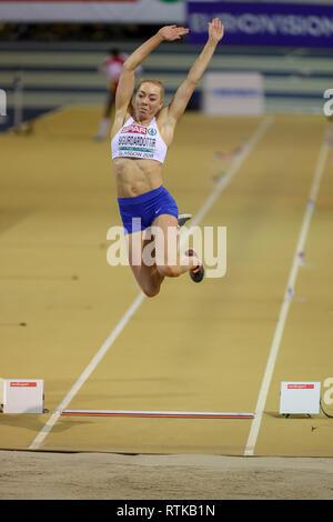 Glasgow, Scotland, UK. 2nd March, 2019. Hafdis Sigurdardottir, representing Iceland competing in the women's long jump. Credit: Findlay/Alamy Live News - Stock Photo