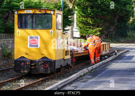 MAINTENANCE TAKING PLACE ON THE ISLE OF MAN ELECTRIC TRAM RAILWAY - Stock Photo